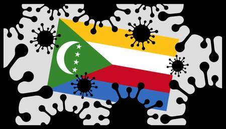 Covid-19 coronavirus pandemic icon and comoros flag 向量圖像