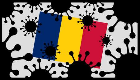 Covid-19 coronavirus pandemic icon and chad flag