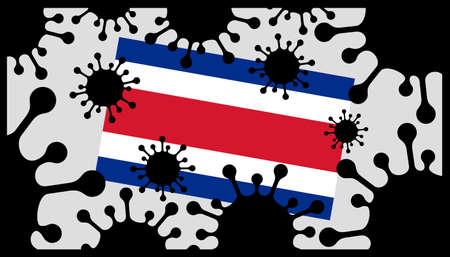 Covid-19 coronavirus pandemic icon and costa rican flag