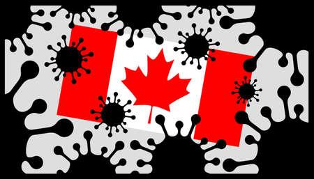 Covid-19 coronavirus pandemic icon and canada flag