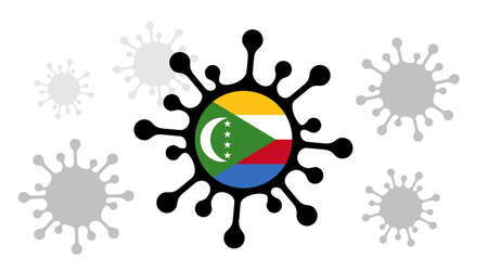 Covid-19 coronavirus icon and comoros flag