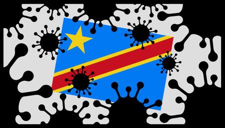 Covid-19 coronavirus pandemic icon and democratic republic of congo flag