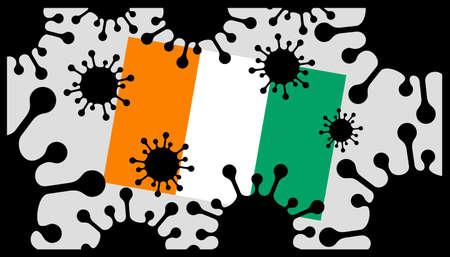 Covid-19 coronavirus pandemic icon and ivory coast flag 向量圖像