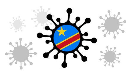 Covid-19 coronavirus icon and democratic republic of congo flag