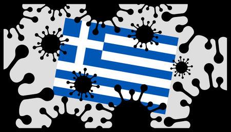 virus pandemic icon and greek flag 向量圖像