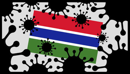 virus pandemic icon and gambian flag