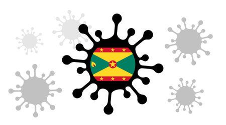 virus icon and grenada flag