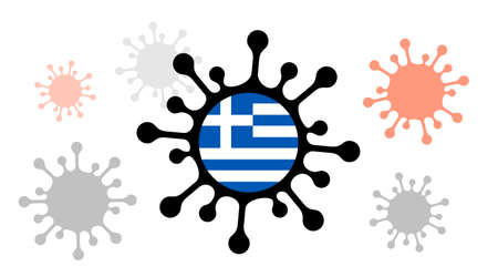 virus icon with greece flag