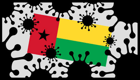 virus pandemic icon and guinea-bissau flag