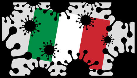 virus pandemic icon and italian flag