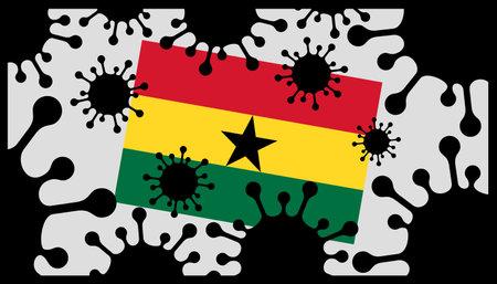 virus pandemic icon and ghana flag