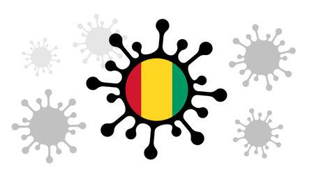 virus icon and guinea flag 向量圖像