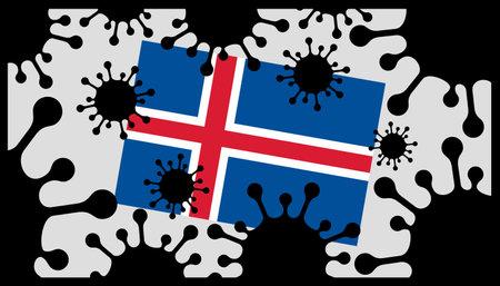 virus pandemic icon and icelandic flag