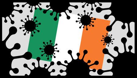 virus pandemic icon and irish flag 向量圖像