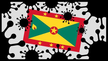 virus pandemic icon and grenada flag