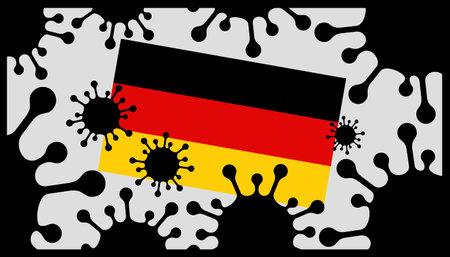 virus pandemic icon and german flag 向量圖像