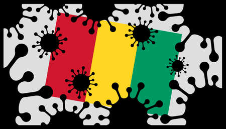 virus pandemic icon and guinea flag