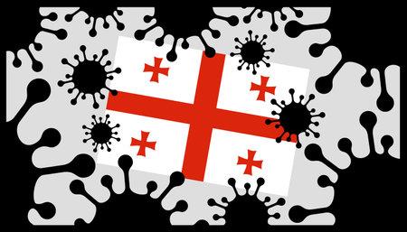 virus pandemic icon and georgia flag