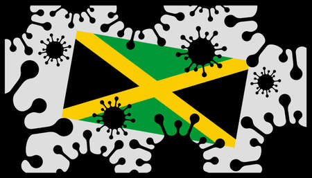 virus pandemic icon and jamaican flag 向量圖像