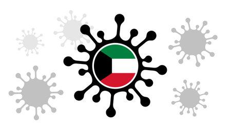 virus icon and kuwait flag