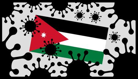virus pandemic icon and jordanian flag 向量圖像
