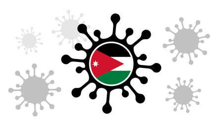 virus icon and jordanian flag