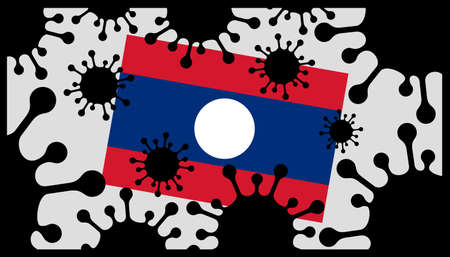 Covid-19 coronavirus pandemic icon and laos flag