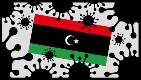 Covid-19 coronavirus pandemic icon and libyan flag