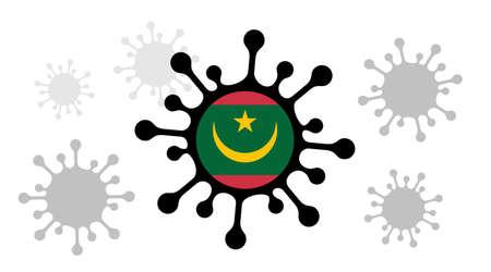 Covid-19 coronavirus icon and mauritania flag