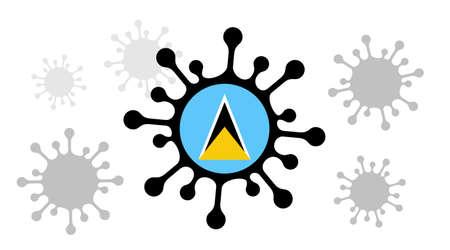 Covid-19 coronavirus icon and saint lucia flag 向量圖像