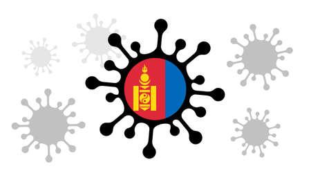 Covid-19 coronavirus icon and mongolian flag