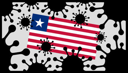 Covid-19 coronavirus pandemic icon and liberian flag 向量圖像