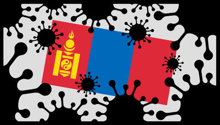 Covid-19 coronavirus pandemic icon and mongolian flag