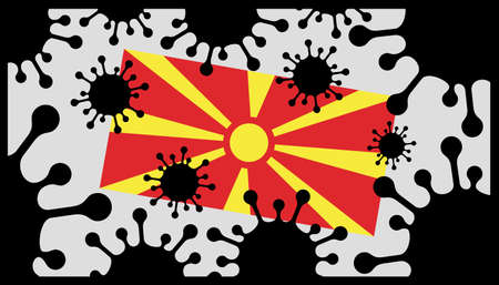 Covid-19 coronavirus pandemic icon and macedonia flag