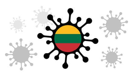 Covid-19 coronavirus icon and lithuania flag