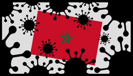 Covid-19 coronavirus pandemic icon and moroccan flag