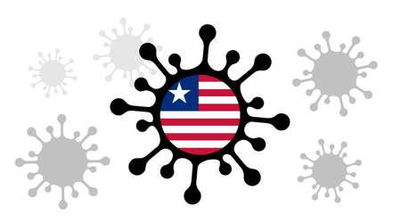 Covid-19 coronavirus icon and liberian flag 向量圖像