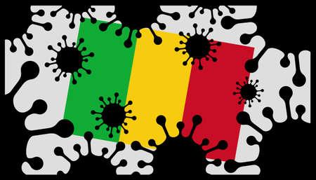 Covid-19 coronavirus pandemic icon and mali flag