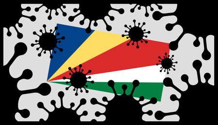 Covid-19 coronavirus pandemic icon and seychelles flag