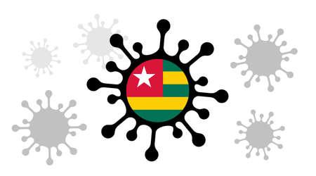 Covid-19 coronavirus icon and togolese flag