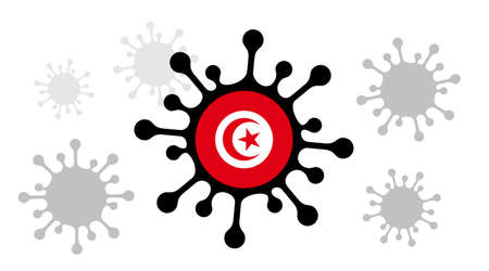 Covid-19 coronavirus icon and tunisian flag