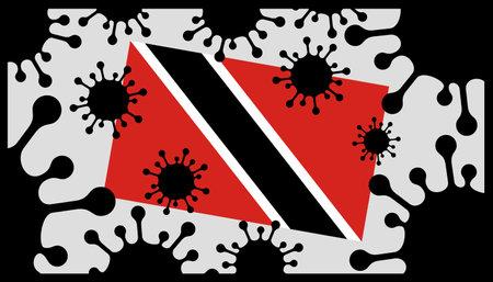 Covid-19 coronavirus pandemic icon and trinidad and tobago flag 向量圖像