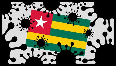Covid-19 coronavirus pandemic icon and togolese flag 向量圖像