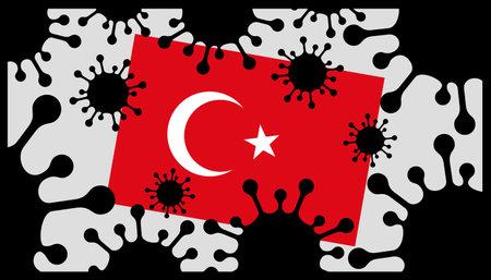 Covid-19 coronavirus pandemic icon and turkish flag