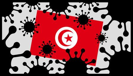 Covid-19 coronavirus pandemic icon and tunisian flag