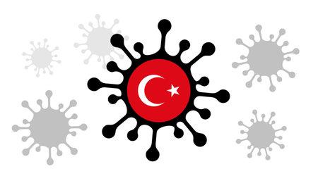 Covid-19 coronavirus icon and turkish flag 向量圖像
