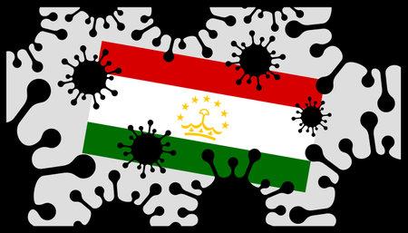 Covid-19 coronavirus pandemic icon and tajikistan flag