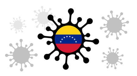 Covid-19 coronavirus icon and venezuela flag 向量圖像
