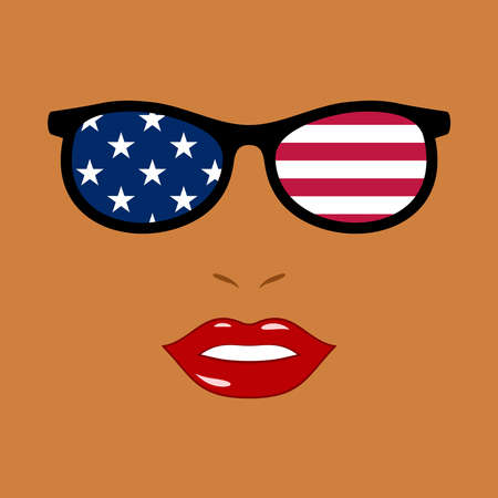 African-american woman and eyeglasses with usa flag