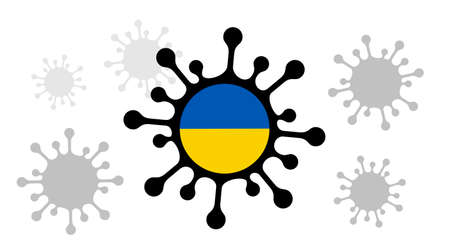 Covid-19 coronavirus icon and ukraine flag